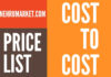 cost to cost price list